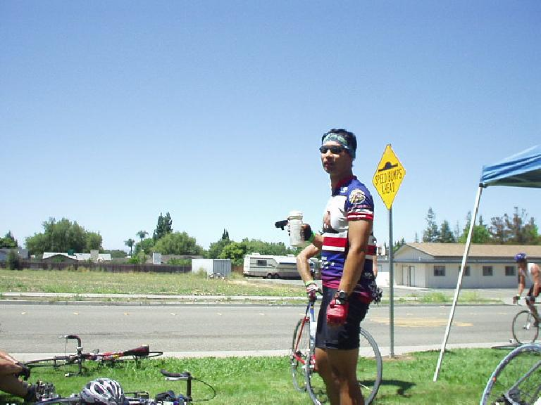 "[Mile 93, 12:20pm] Felix Wong at Rest Stop #4 in Warm Springs (still in Fremont, but barely).  And ""warm"" it sure was getting (93 degrees at this point already)."
