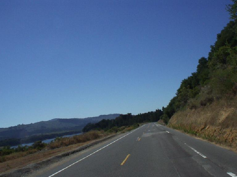 [Mile 130, 3:47pm] The heat was hardly relenting along unshaded Can~ada Rd. along the Crystal Springs Reservoir in Woodside.