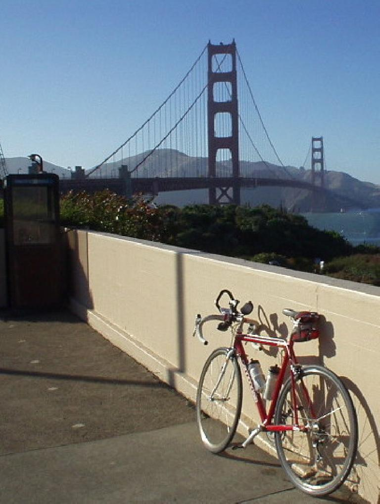 [Mile 160, 6:28pm] The view doesn't get much better than this.  Canny and the Golden Gate Bridge.