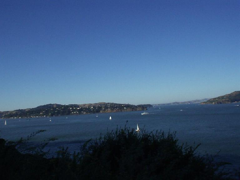 [Mile 162, 6:51pm] At least the view was good, this being of Treasure Island and Alcatraz.