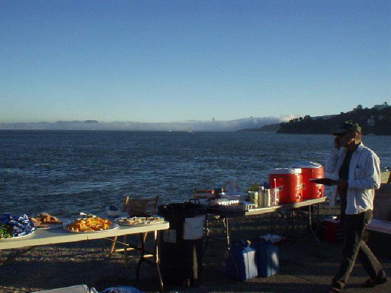 [Mile 172, 7:38 p.m.] Rest Stop #8 at Shoreline Park in Sausalito provided the best views of any rest stop in the ride.  It was clear enough to even see San Francisco from here.