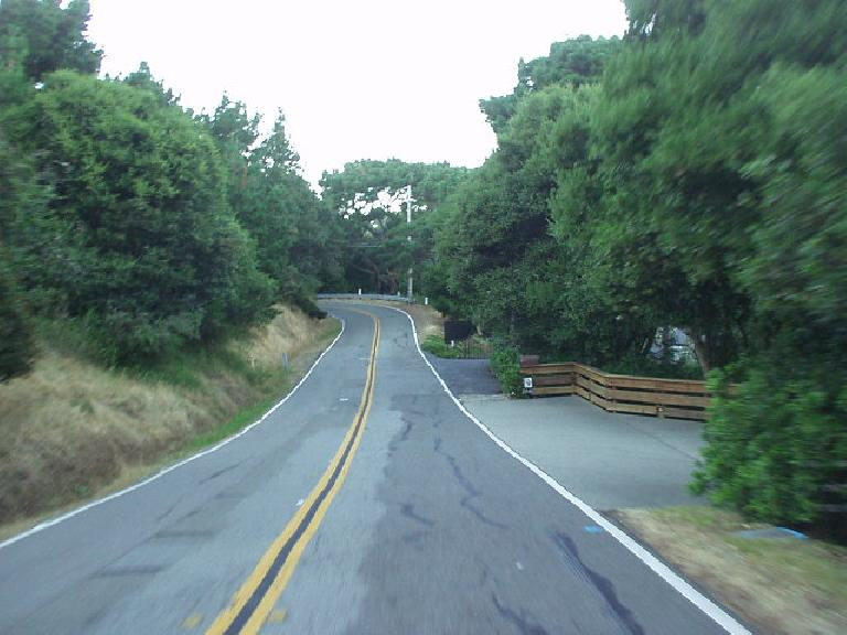 [Mile 173, 7:46 p.m.] One of the most splendid roads of the day (in Paradise Cove), which was a huge contrast to all the traffic-laden roads from most of the day.  Alas, soon it would get dark!
