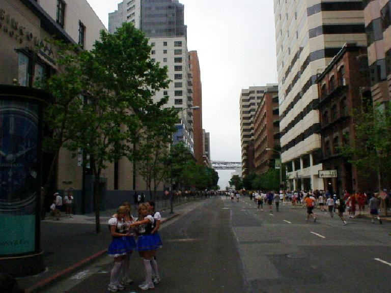 So I finally came out to do Bay to Breakers for the first time.  Here are some girls all dressed up as cheerleaders.