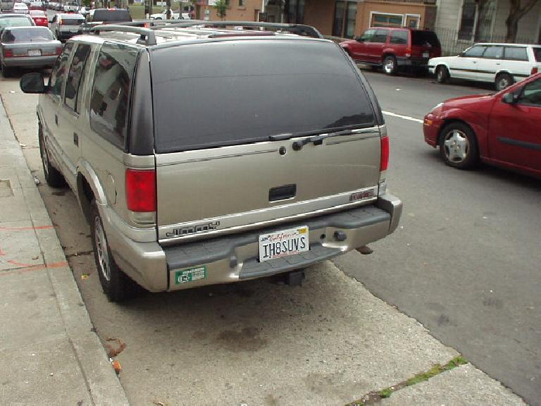 In the streets of SF was this rather ironic license plate on this SUV.  Click on the photo to see what it says.