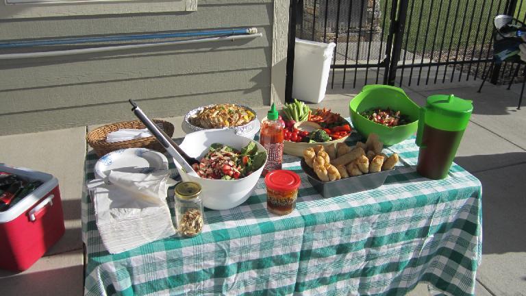 The spread that Katia prepared.