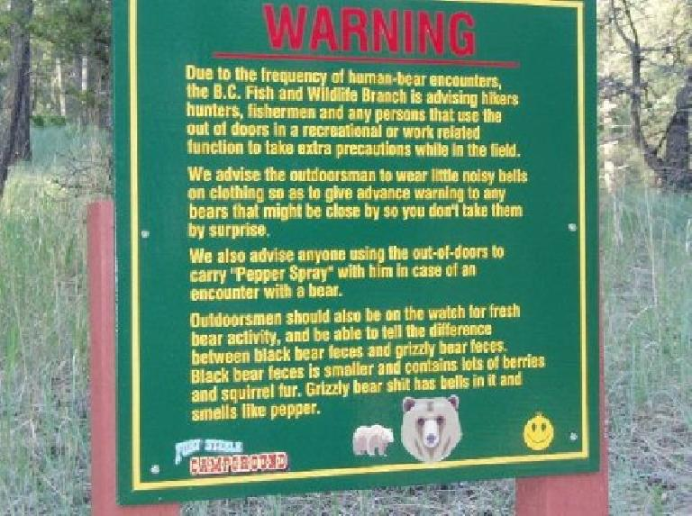 Bear warning.