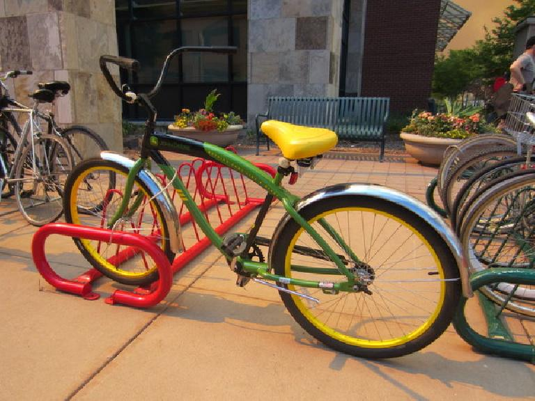 An officially licensed John Deere bicycle (sold at Full Cycles) in Fort Collins.