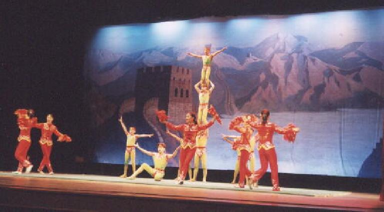 An acrobatic show where the young performers were doing seemingly improbable stunts with amazing accuracy! (May 28, 2002)