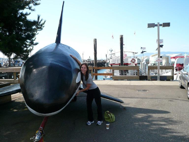 A whale poses with Lisa.