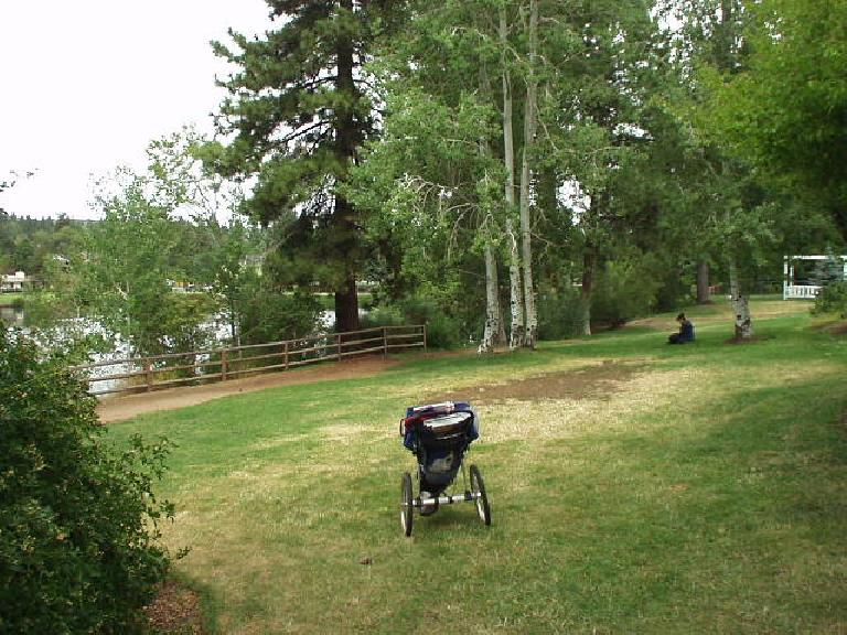 A woman meditates in Drake Park while a baby in a carriage sits idly by.