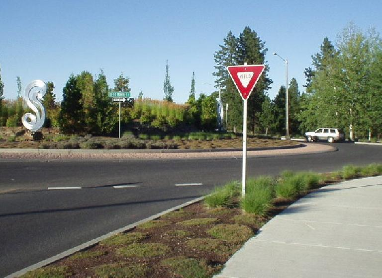 """One thing I love about Bend: roundabouts!  Feels so European.  And they are artsy ones.  Witness the """"S art"""" created as a tribute to Mt. Bachelor."""