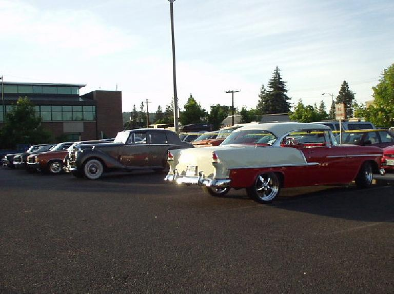 Later in the evening--in the parking lot by the same playground outside--a whole bunch of classic American cars came trickling in for a car show!