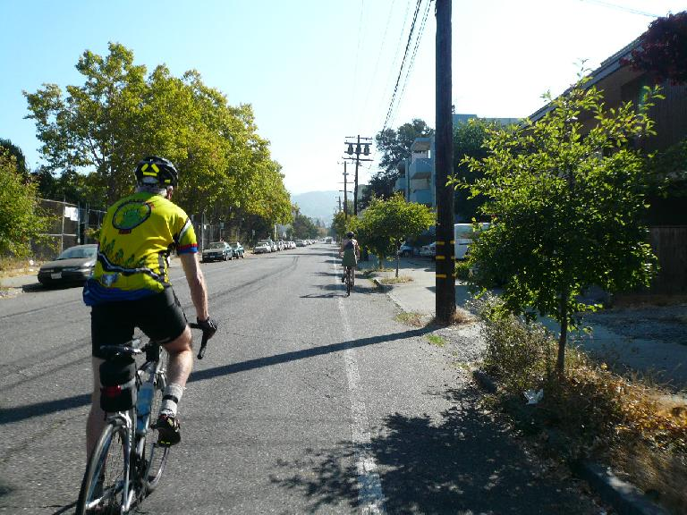 Actually, the workout was yet to begin.  Here's Joe leading the way to the Berkeley Hills.