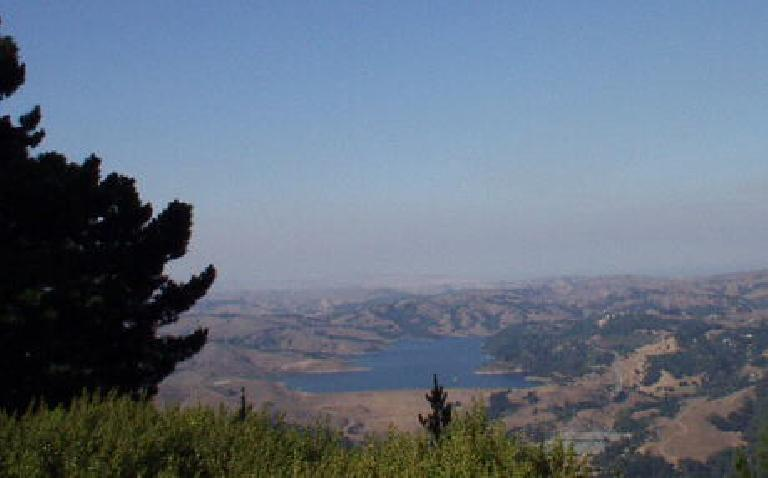 "The easterly view from Vollmer Peak: San Pablo Dam.  I'm glad to report that getting here did not feel like ""death""!"