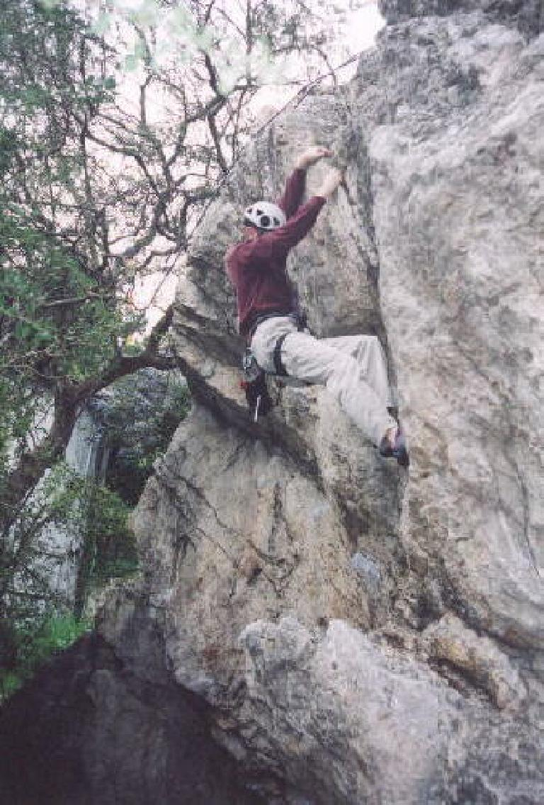 James attempting the first climb.
