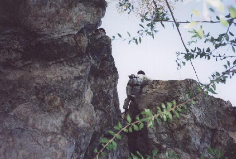 Sarah on a longer overhanging climb.
