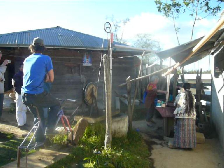 Bruce pedaling a bicibomba (bicycle water pump) in a rural area west of San Andres Itzapa. (January 3, 2011)