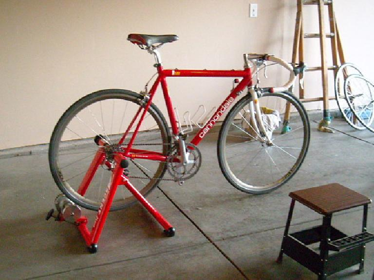 Using my new stationary trainer as a bicycle workstand.