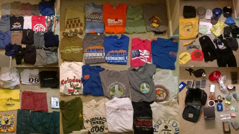 donated clothes, many T-shirts, hats, donations