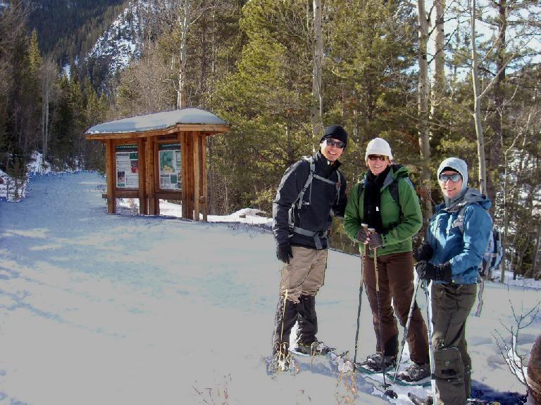 Rob, Tori & Lisa at the trailhead for the Big South Trail.