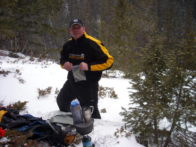 Joe was well-prepared with a lot of gear, including a full stove.  Being a Steelers fan, I liked his shirt.