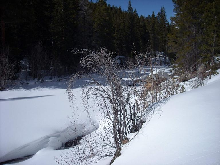 Belying a couple feet of snow here was the Poudre River.