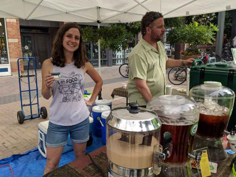 My friend Olivia had helped brew many gallons of tea for Happy Lucky Teahouse's Bike to Work Day station.