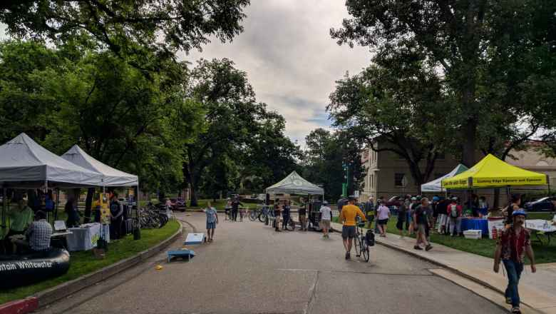 There were several organizations represented at the CSU oval, including one providing free bicycle repairs.
