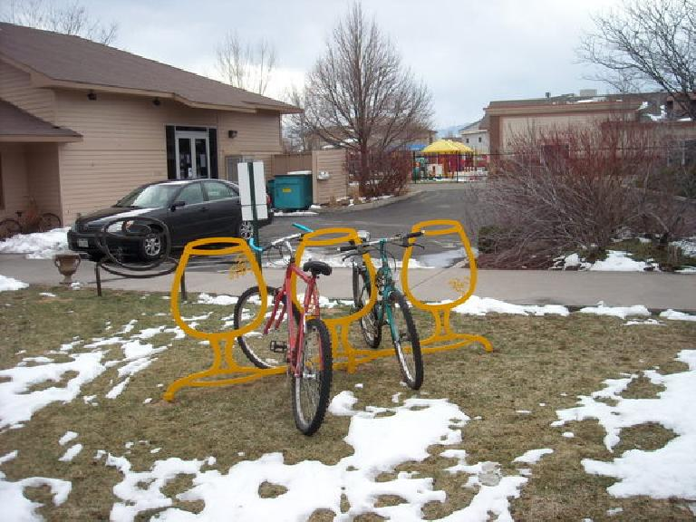 Bike rack outside of a now-gone coffee shop in Fort Collins. (March 29, 2009)