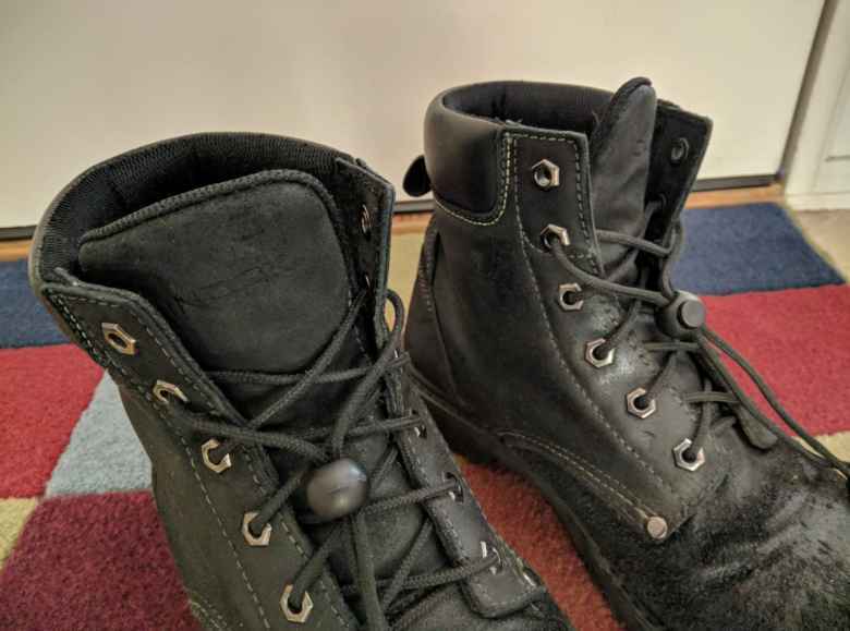 black Chinook boots, cord locks