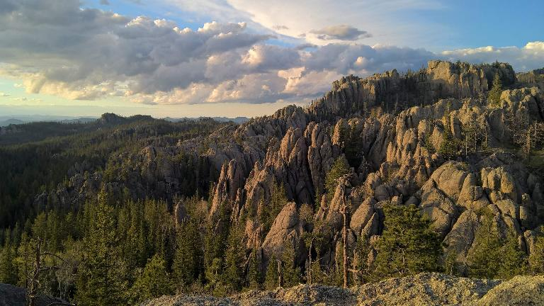The northerly view of the rock formations from the southwest end of Trail 9 in the Black Elk Wilderness National Forest.