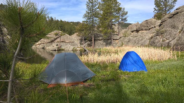 The ladies' tent and my tent at Sylvan Lake. (May 27, 2016)