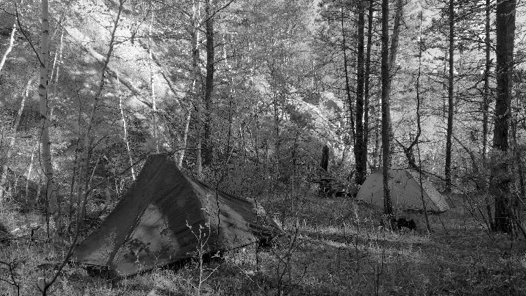 Our tents off the Centennial Trail a couple miles south of Mt. Rushmore Memorial. (May 28, 2016)