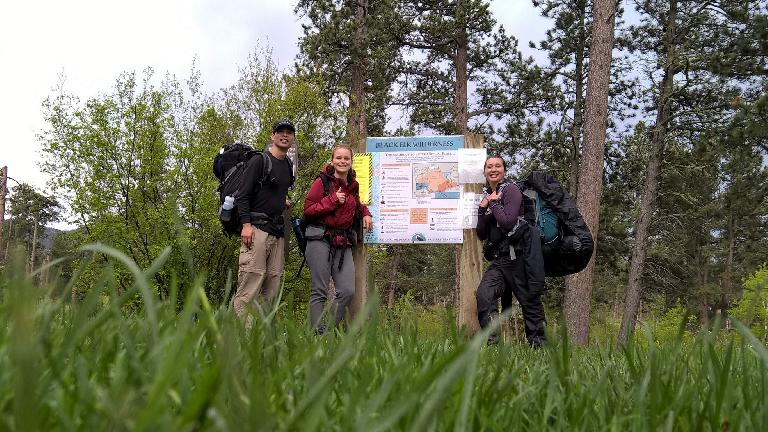 Finished after ~34 miles and 2.5 days of hiking! Felix Wong, Saar and Diana at the Willow Creek Trailhead in the Black Elk Wilderness. (May 28, 2016)