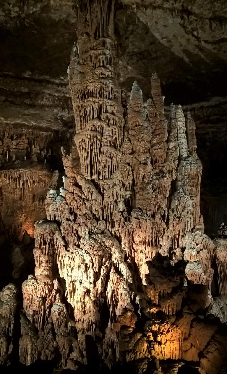Where stalactites and stalagmites meet inside the Blanchard Springs Caverns.