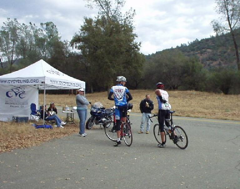 [Mile 70.4, 10:00am] Some cyclists preparing for the start of the Powerhouse Grade Time Trial.