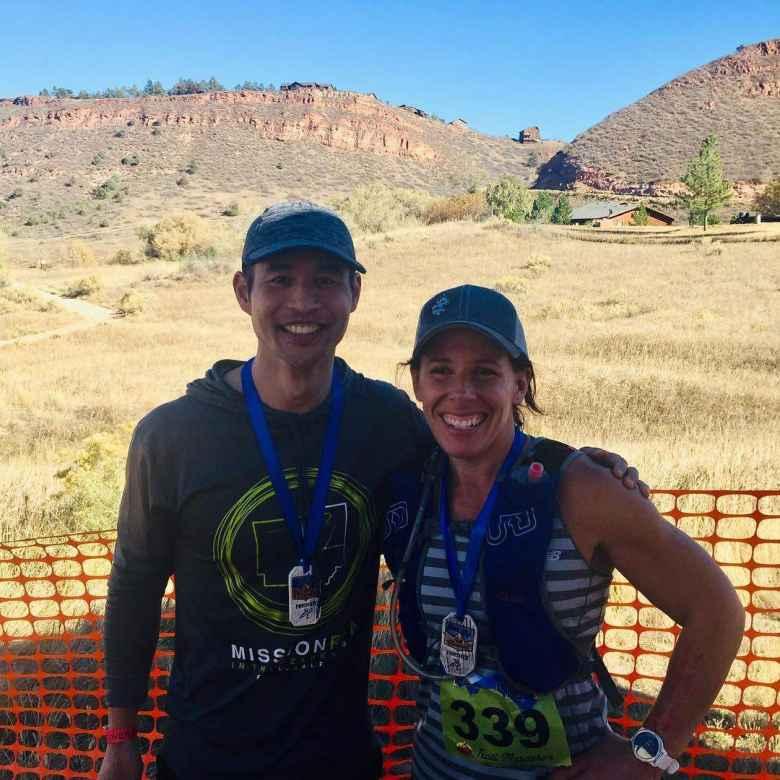 Felix and Jennifer after finishing the Blue Sky Trail Marathon.