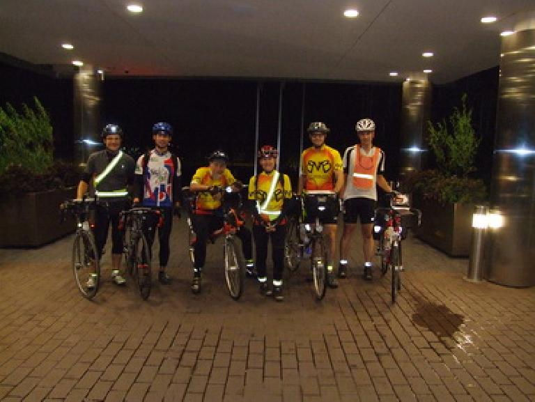 Anthony, myself, Silo, Susan, Chip and Ted at the start.  Of the six of us, I was the only one who had not ridden BMB before.  Four of us would ultimately finish this year's ride. Photo: Pierce Gafgen. (August 11, 2011)