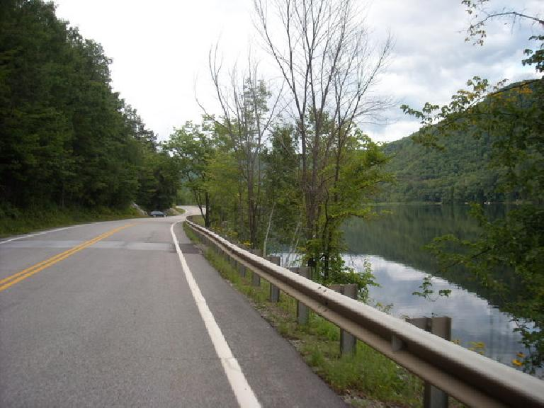 [Mile ~194] Riding by a Lake on Route 100 North in Vermont.