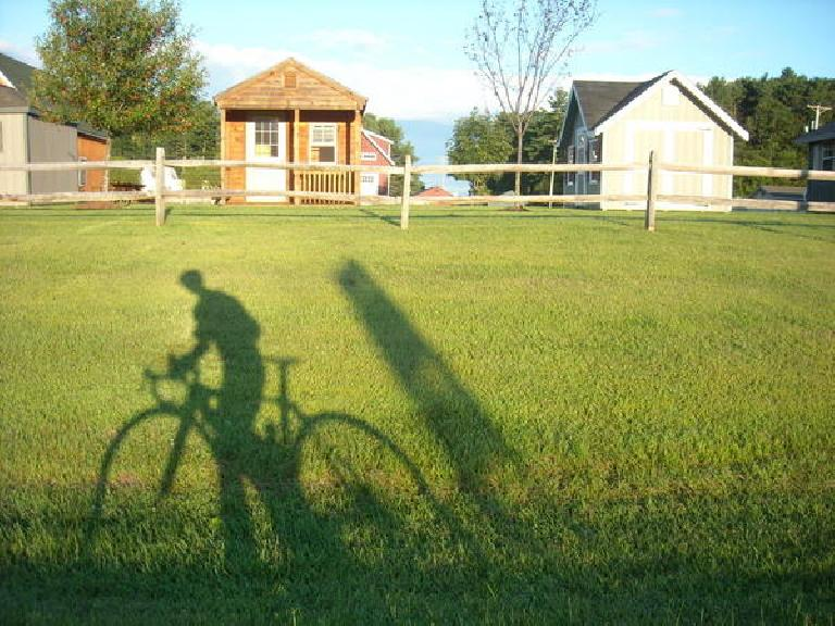 [Mile 247] Me and my shadow by more eco-friendly tiny houses in Bristol, VT.