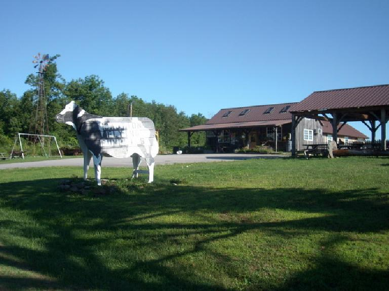 [Mile ~60] Riding past the Carter & Stevens Farm Store of Barre, Massachusetts.