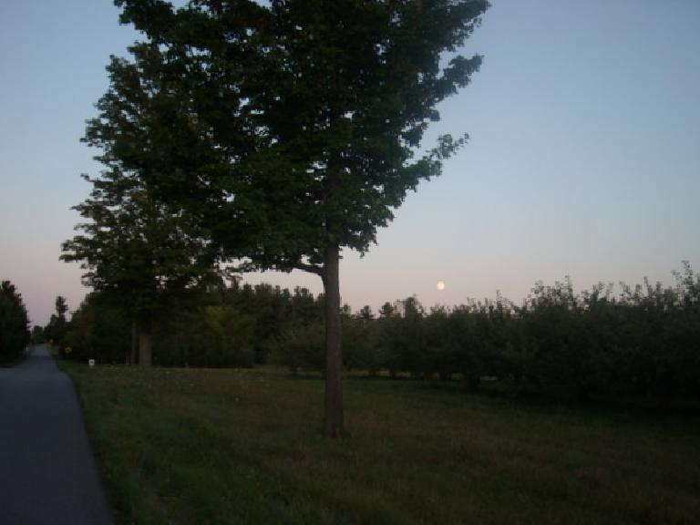 [Mile 409] Riding towards a full moon in the quebecois countryside is one of my enduring memories of Boston-Montreal-Boston. (August 12, 2011)