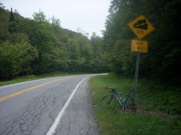 [Mile 535] Made it to the top of Middlebury gap.  Average 12% downhill grade for the next mile or two. (August 13, 2011)