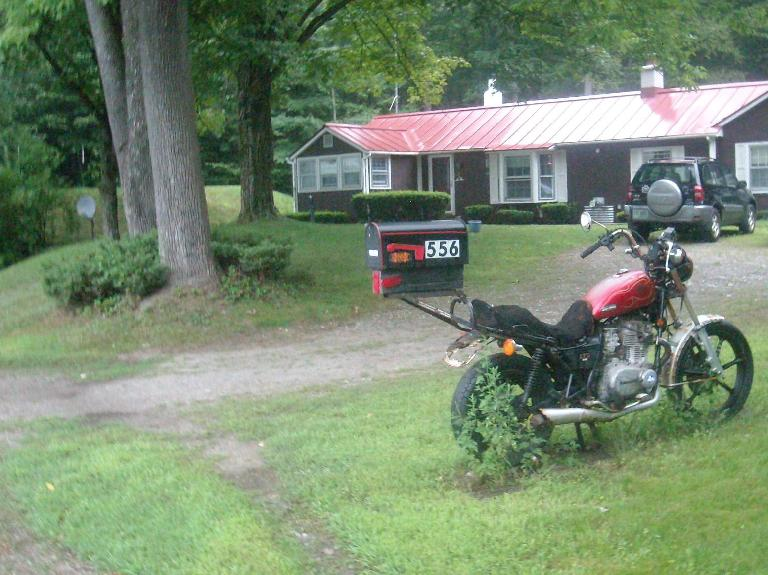 [Mile 657] Nice mailbox stand---a motorcycle---near Winchester, New Hampshire.. (August 14, 2011)