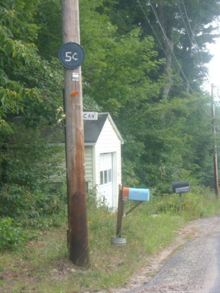 "[Mile 680] ""Canadian 5 cents"" signs in New Salem, MA.  For psychiatric advice by Lucy of the Peanuts comic strip?"