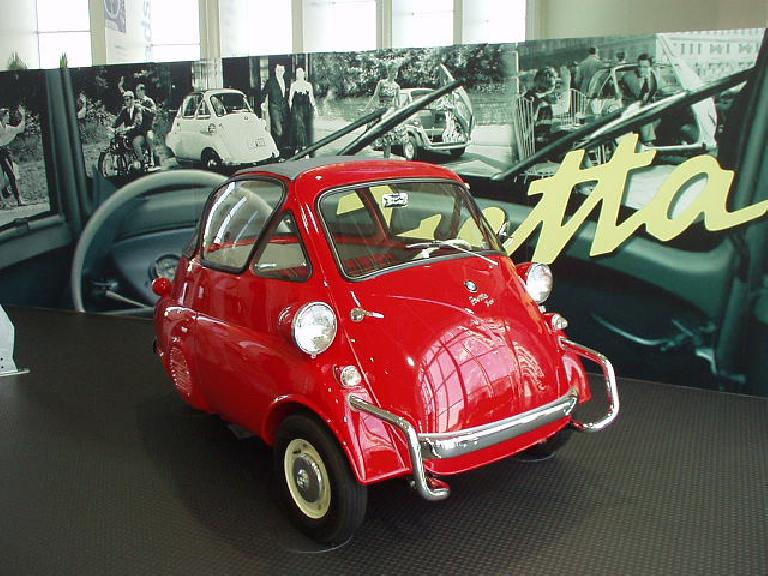 A lovable quirky egg-shaped three-wheeled vehicle: the Isetta, by BMW.