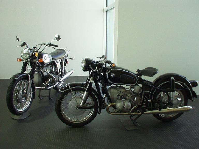 Two nice vintage BMW motorcycles.
