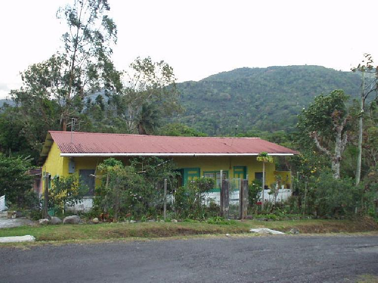 This is a typical non-gringo Panamanian home down in Boquete painted in a bold hue.