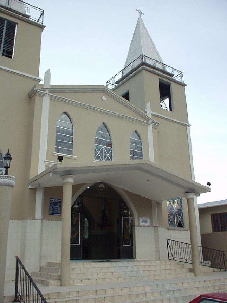 The main church in Boquete.  I am guessing it is Catholic. (March 8, 2007)
