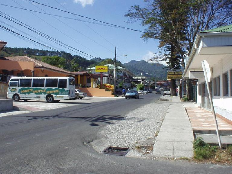 Another view of downtown Boquete and the mountains from Avenida Central. (March 9, 2007)